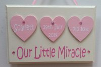 Newborn baby girl personalised wooden keepsake plaque