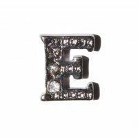 E Letter with stones - floating locket charm