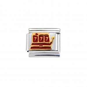 Slot Machine/One armed bandit - enamel 9mm Italian charm
