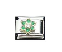 May Flower New Birthstone - Emerald - 9mm Italian charm