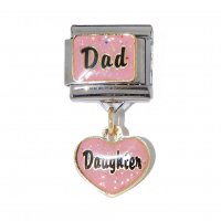 Dad with dangle heart Daughter - dangle 9mm Italian charm