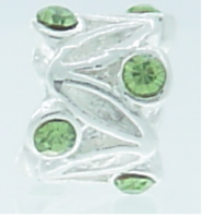 EB366 - Silver plated bead with green stones (2)