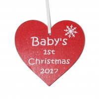 Baby's 1st Christmas 2017 red heart Tree decoration