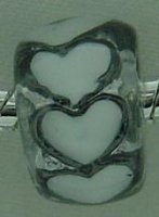 EB170 - Bead with white hearts