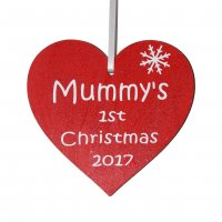 Mummy's 1st Christmas 2017 red heart Tree decoration