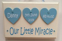 Newborn baby boy personalised wooden keepsake plaque