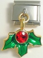 Christmas holly - dangle 9mm Italian charm