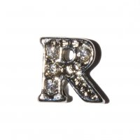 R Letter with stones - floating locket charm