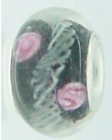 EB125 - Glass bead - Black bead with pink flower and white
