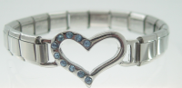 Open heart with blue rhinestones on SHINY bracelet