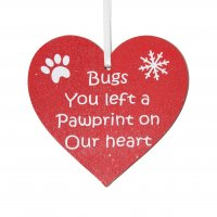 Personalised Pet memorial Christmas red heart decoration