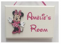 Minnie Mouse personalised room plaque - Handmade wooden plaque