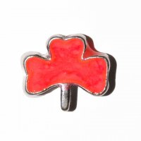 Shamrock coral colour 9mm floating locket charm