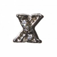 X Letter with stones - floating locket charm