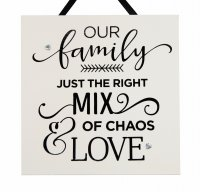 Our family is just the right mix - Handmade wooden plaque