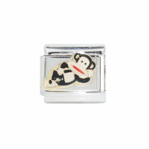 Monkey laying down - 9mm Enamel Italian Charm