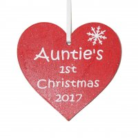 Auntie's 1st Christmas 2017 red heart Tree decoration
