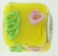 EB81 - Glass bead - Yellow pink and green cube