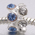 EB414 - Bead with blue and clear crystals fits European bead