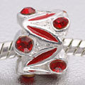 EB416 - Red and silver bead with red stones