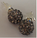 925 Black diamond Crystal 8mm Shamballa Earrings