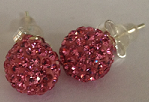 925 Pink Crystal 8mm Shamballa Earrings