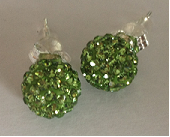 925 Green Crystal 8mm Shamballa Earrings