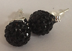 925 Jet Black Crystal 8mm Shamballa Earrings