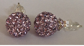 925 Violet Crystal 8mm Shamballa Earrings