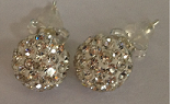 925 White Crystal 8mm Shamballa earrings