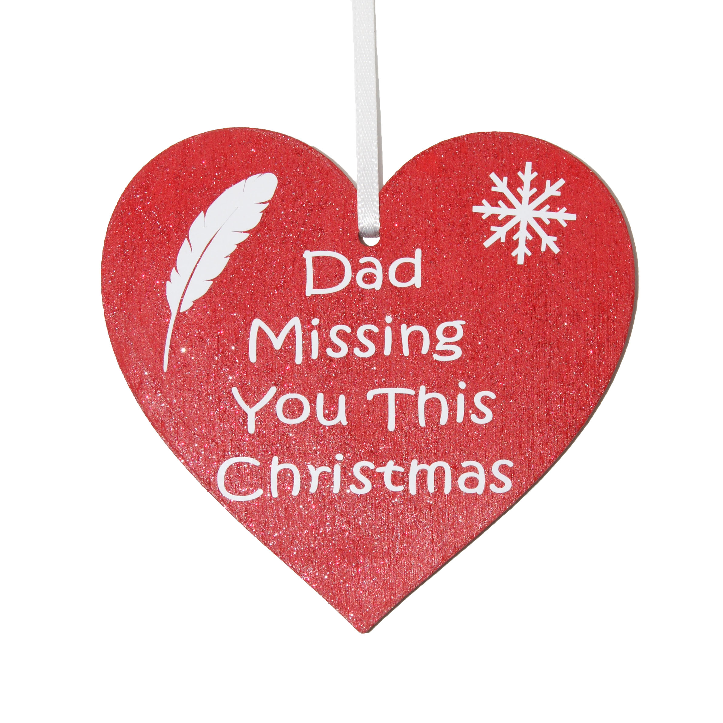 dad missing you this christmas red heart tree decoration