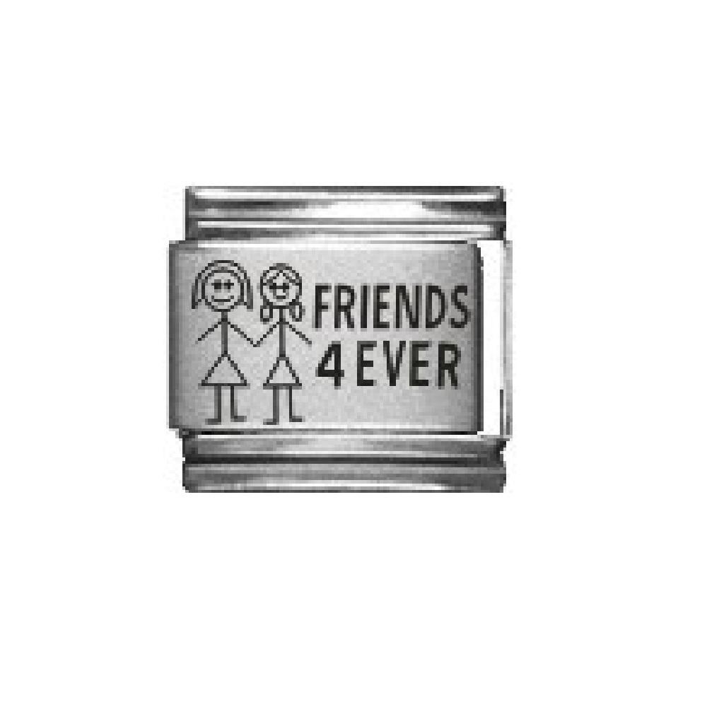 Friends 4 ever - laser 2 girls cute 9mm Italian charm - £2.99 ... d342a3286