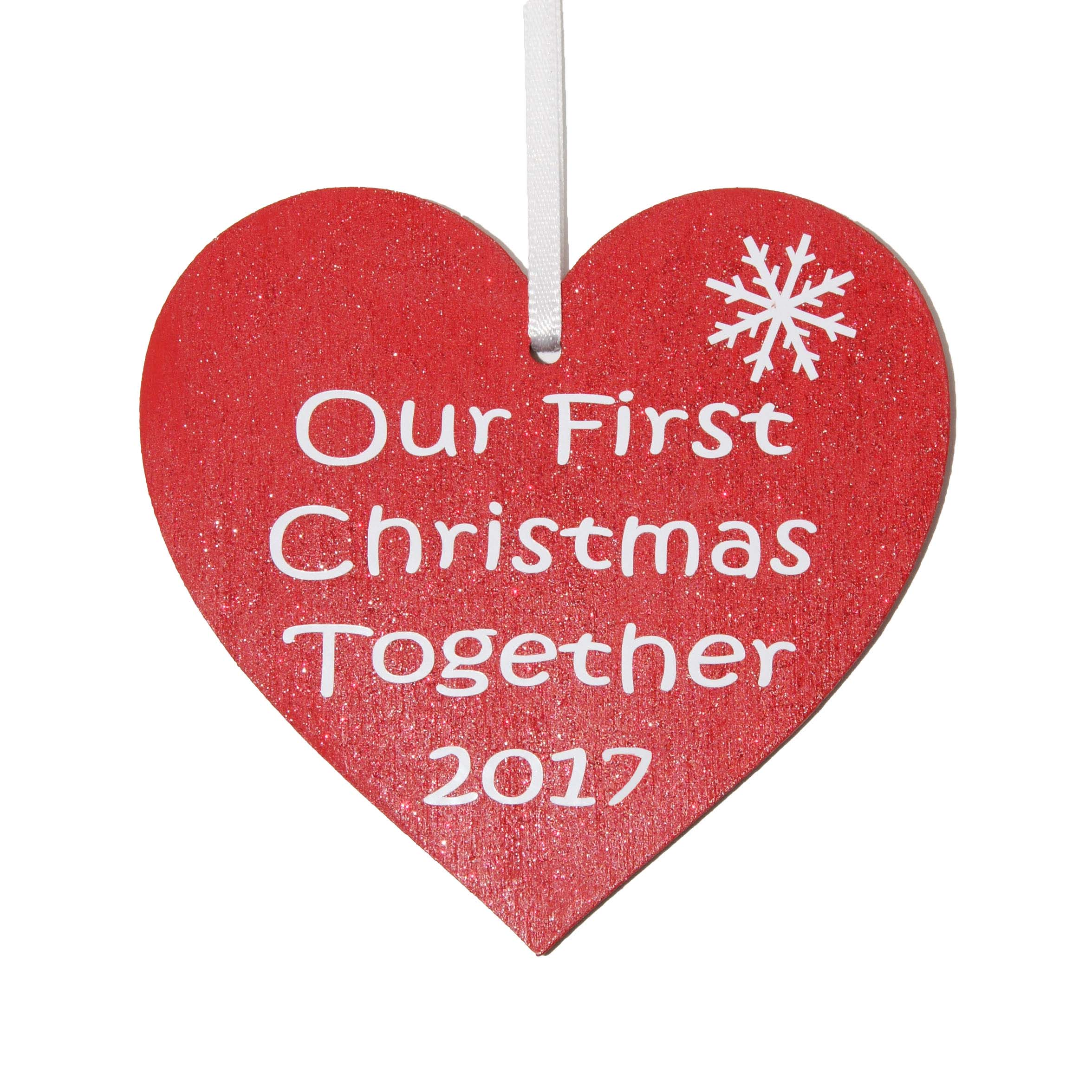 Our First Christmas together 2017 red heart tree decoration ...
