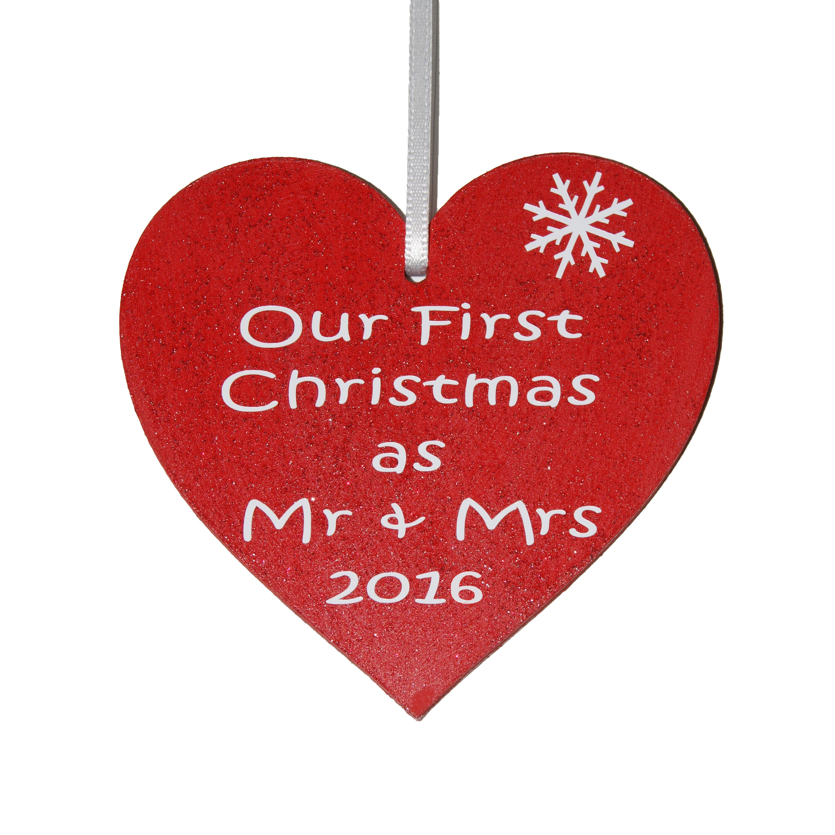 First christmas as mr and mrs decoration - Our First Christmas As Mr Mrs 2016 Red Heart Decoration