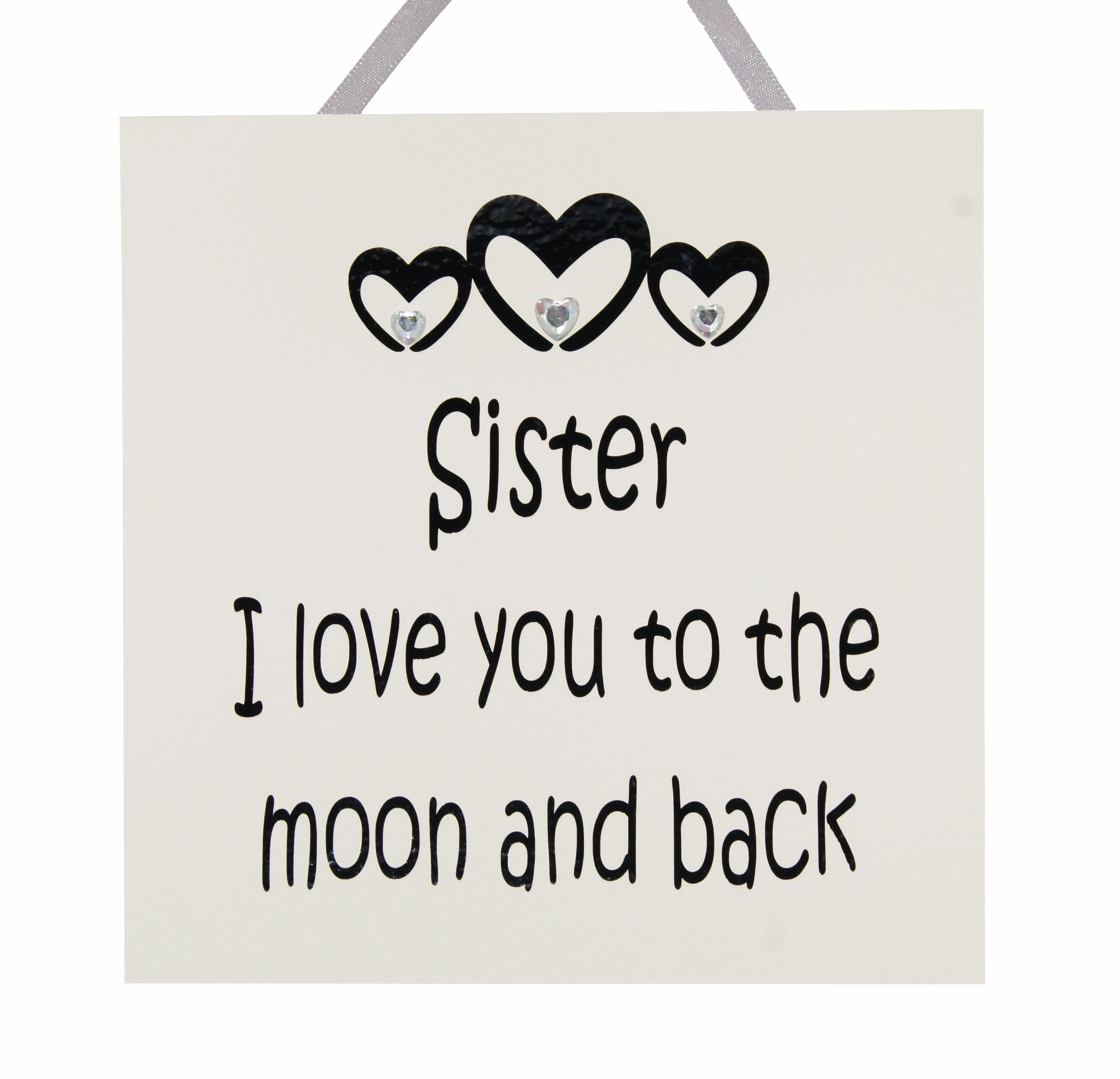 Sister I Love You To The Moon And Back Handmade Wooden Plaque
