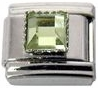 August - Square Birthstone - Peridot 9mm Italian Charm