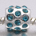 EB409- Silver plated bead with blue stones