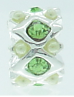 EB365 - Silver plated bead with green stones (1)