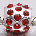 EB410 - Bead with red stones - fits European bead bracelets