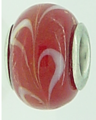 EB79 - Glass bead - Red bead with white swirls