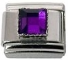 February - Square Birthstone - Amethyst 9mm Italian Charm