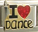 I love dance - enamel charm sparkly red heart