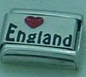 Love England - Red heart laser charm