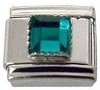 May - Square Birthstone - Emerald 9mm Italian Charm